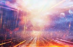 Ljus galax- eller fantasibakgrund abstrakt begreppbristningslampa magisk och gåtabegrepp arkivbild
