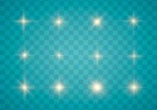 Ljus, gnista och stjärnor royaltyfri illustrationer