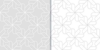 Ljus - gråa geometriska prydnader mönsan den seamless seten Fotografering för Bildbyråer