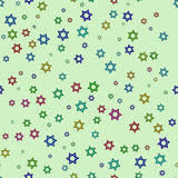 Ljus - grön bakgrund med kulöra stjärnor stock illustrationer