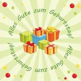 Ljus - grön vektorbakgrund - Alles gutezum Geburtstag Royaltyfri Bild