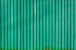 Ljus - grönt gammalt trämålat staket royaltyfri fotografi