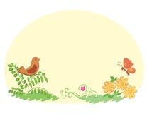 Ljus - gul bakgrund med flora och faunor Royaltyfria Bilder