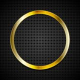 Ljus guld- cirkel på perforerad textur Royaltyfri Fotografi