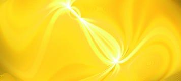 Ljus guld- våg för glödhögvatteneffekt Dynamisk rörelseenergi Planlägg mallillustrationen panorama- bild Modern lutningbackgroun arkivfoto