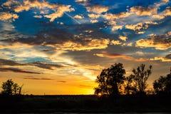 Ljus härlig solnedgång med moln Fotografering för Bildbyråer