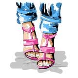 Ljus illustration för mode av sommarskor, hög häl och jeans, affisch, logo för modestylist och formgivare Arkivbilder