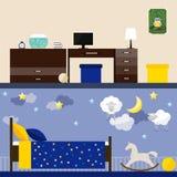 Ljus illustration i moderiktig plan stil med inre för barnrum för bruk i designen för för kortet, inbjudan, affisch, baner Arkivbild