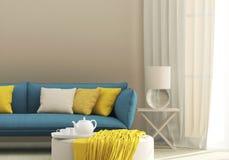 Ljus inre med den blåa soffan Royaltyfria Bilder