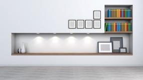 Ljus inre med en hylla för böcker och tillbehör Arkivfoton