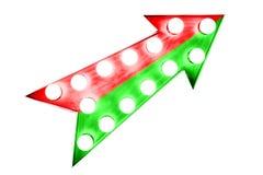 Ljus intensiv delad röd och grön pil uppåt Arkivfoto