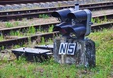 ljus järnväg red visar signaleringstrafik Arkivfoton