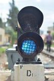 ljus järnväg red visar signaleringstrafik Arkivbilder
