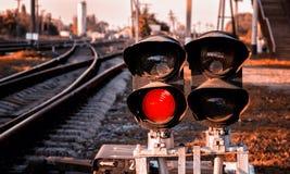 ljus järnväg red visar signaleringstrafik Royaltyfri Bild