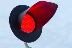 ljus järnväg red visar signaleringstrafik Rött ljus Arkivfoto