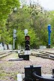ljus järnväg red visar signaleringstrafik station Arkivbilder