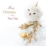 Ljus julsammansättning med garneringar och snö (med ea Fotografering för Bildbyråer