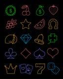 Ljus kasinolinje symbolsuppsättning Vektorenarmad banditsymboler Royaltyfri Fotografi