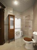 Ljus klassisk traditionell tvättstuga- och badruminre arkivfoto