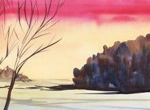 Ljus kontur för träd för solnedgångvinterlandskap på rosa färg-apelsin lutningbakgrund Mörk skog Hand-dragen vattenfärgillustrati vektor illustrationer