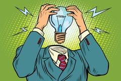 Ljus kula för elektricitet i stället för huvudet royaltyfri illustrationer