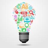 Ljus kula för idé med internetsymboler Royaltyfri Illustrationer