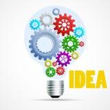 Ljus kula för ljus idé med kuggar och kugghjul Inre kula för kugghjul på vit bakgrund Arkivfoton