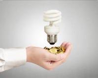 Ljus kula, idérik idé för ljus kula i handen Arkivfoton