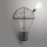 Ljus kula med den hand drog hjärnan som idérik idé Royaltyfri Bild