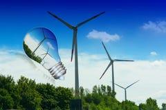 Ljus kula med vindturbinen inom royaltyfri fotografi