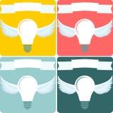 Ljus kula med vingar idébilden för begreppet 3d framförde stock illustrationer
