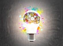 Ljus kula och en hjärna med kuggar royaltyfria bilder