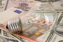 Ljus kula på sedlar Royaltyfri Foto