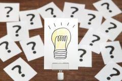 Ljus kula som dras på vitbok med många frågefläckar framför den begreppsmässiga bilden för begreppet 3d lösningen Arkivfoton