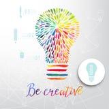 Ljus kula som göras av vattenfärgen, lightbulben och idérika symboler, idérikt begrepp för vattenfärg Vektorbegrepp - kreativitet stock illustrationer