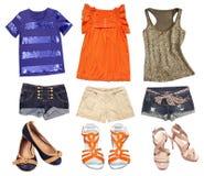 Ljus kvinnlig sommar beklär collage Tonåringkläderuppsättning arkivfoton