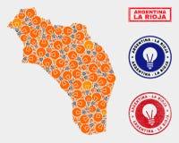 Ljus lampa mosaiska La Rioja av den Argentina översikten och texturerade stämplar royaltyfri illustrationer
