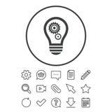 Ljus lampteckensymbol Kula med kugghjulsymbol vektor illustrationer