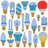 Ljus lampuppsättning Kulöra skisserade symboler på viten vektor illustrationer