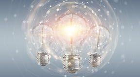 Ljus lightbulb som exponerar annan tolkning för kulor 3D Arkivbild