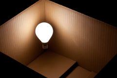 Ljus lightbulb som flottörhus i en ask Royaltyfri Bild