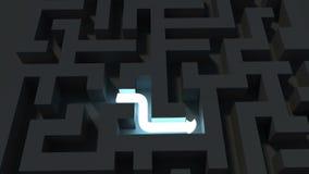 Ljus linje som löser ett mörkt labyrintpussel royaltyfri illustrationer