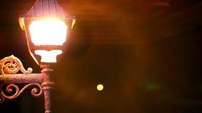 Ljus lykta som glöder på natten och geckonederlaget lager videofilmer