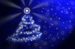 ljus magisk tree för blå jul stock illustrationer