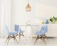 Ljus matsal med blåa stolar royaltyfri illustrationer