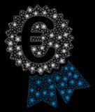 Ljus Mesh Network Euro Featured Price etikett med ljusa fläckar royaltyfri illustrationer