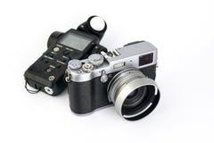 Ljus meter och kamera Fotografering för Bildbyråer
