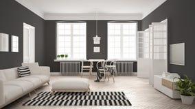 Ljus minimalist vardagsrum med soffan och äta middagtabellen, scandi Royaltyfria Foton
