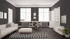 Ljus minimalist vardagsrum med soffan och äta middagtabellen, scandi Arkivfoto