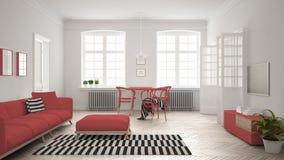 Ljus minimalist vardagsrum med soffan och äta middagtabellen, scandi Arkivbilder